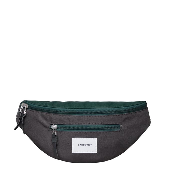Sandqvist Aste Bum Bag multi deep green / dark grey with black leather