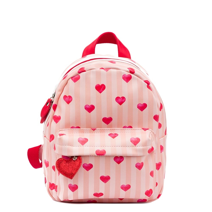 Zebra Trends Girls Rugzak S stripes/hearts/red