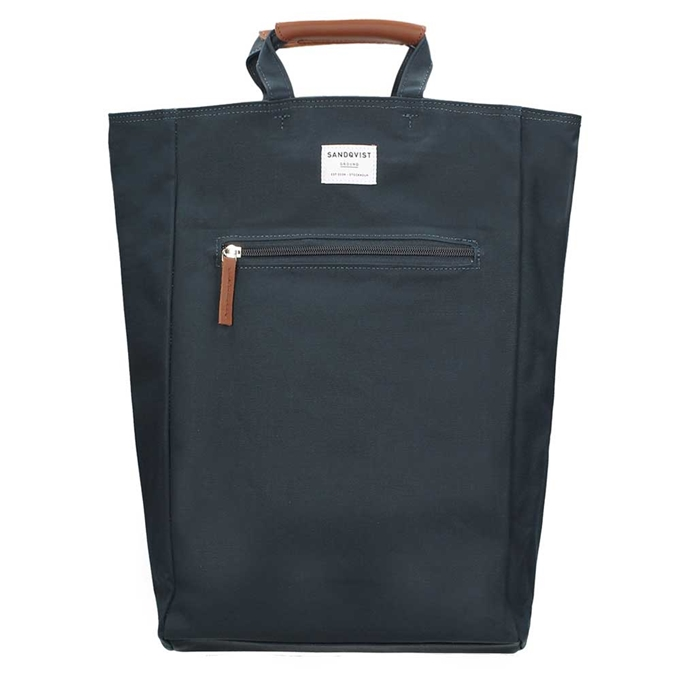 Sandqvist Tony Backpack blue with cognac brown leather - 1