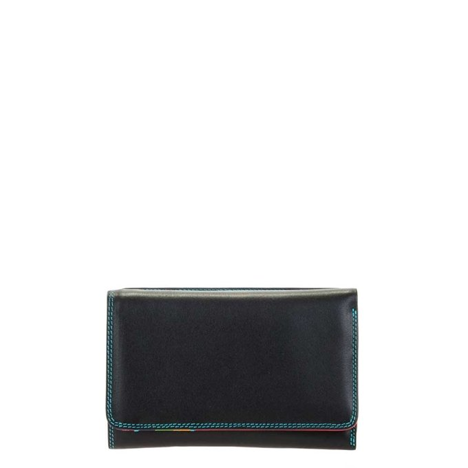 Mywalit Ladies Medium Tri-Fold Wallet Outer Zip Purse black-pace - 1