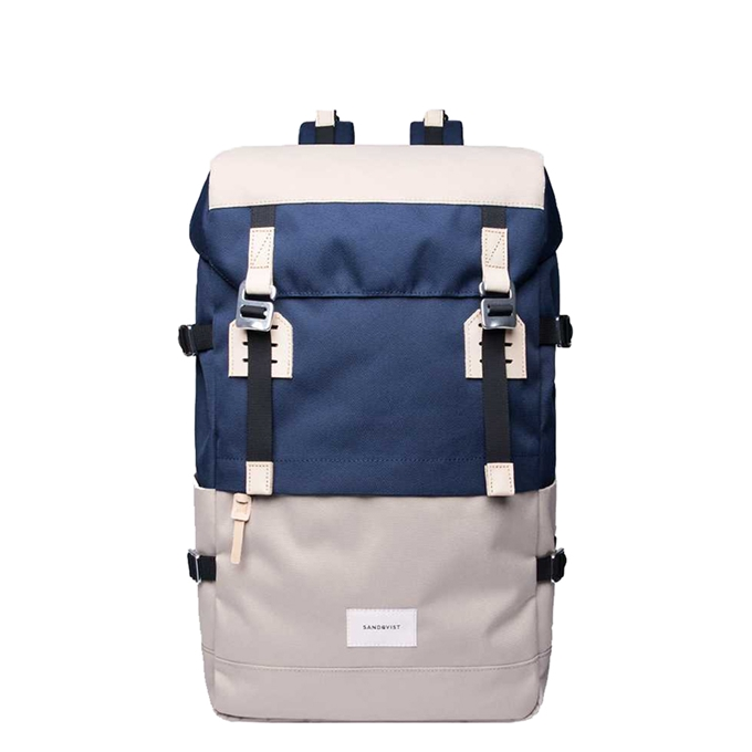 Sandqvist Harald Backpack multi beige / blue with natural leather - 1