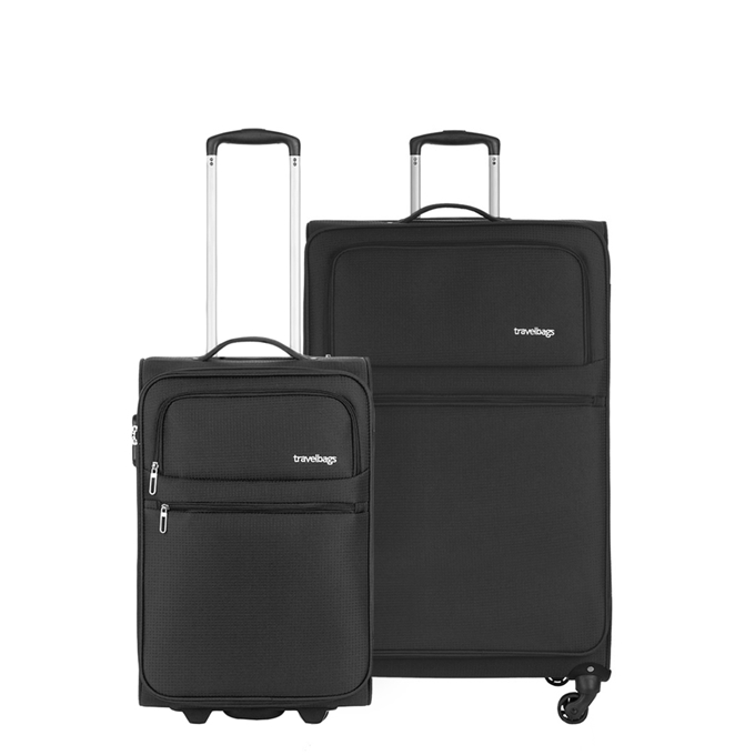 Travelbags Lissabon Kofferset - 2 delig - 55 cm 2 wiel + 77 cm 4 wiel - black - 1
