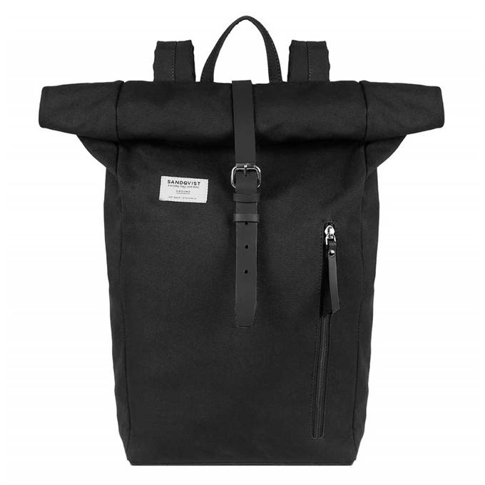 Sandqvist Dante Backpack black with black leather - 1