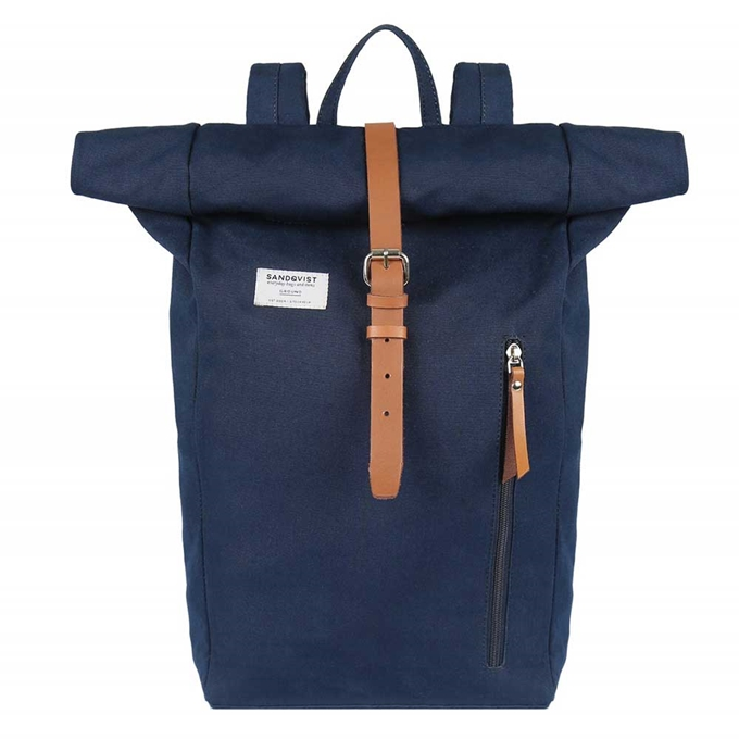Sandqvist Dante Backpack blue with cognac brown leather - 1