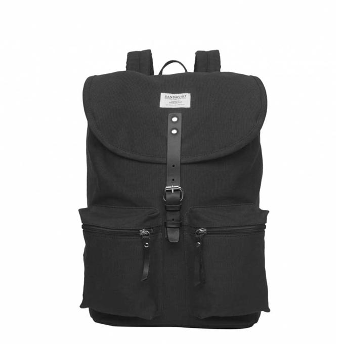 Sandqvist Roald Backpack black with black leather - 1