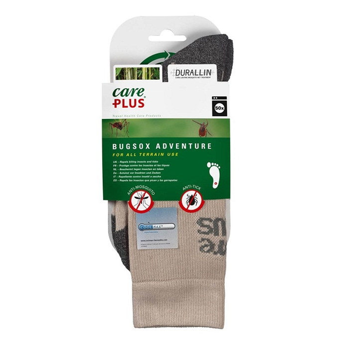 Care Plus Bugsox Adventure Geimpregneerde Sokken Maat 35-37 khaki