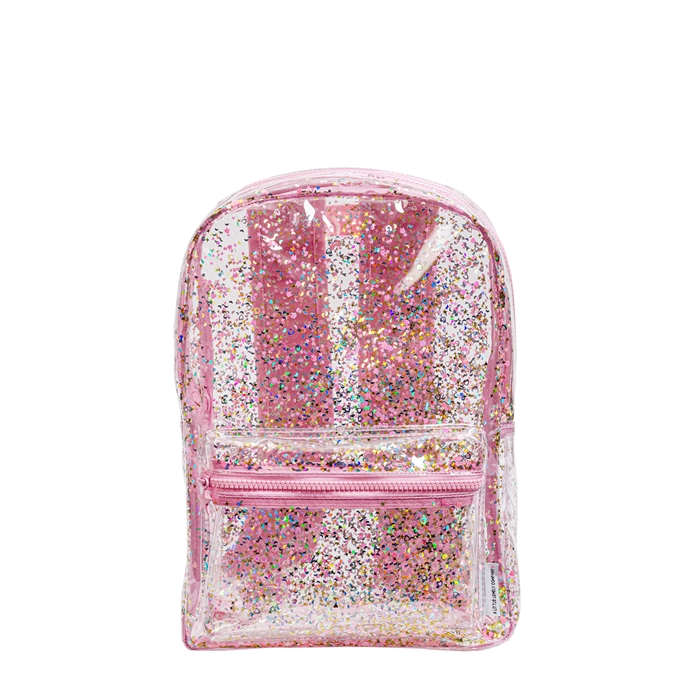 A Little Lovely Company Backpack Glitter transparant/roze