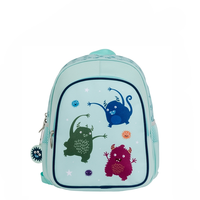 A Little Lovely Company Insulated Backpack Monsters lichtblauw