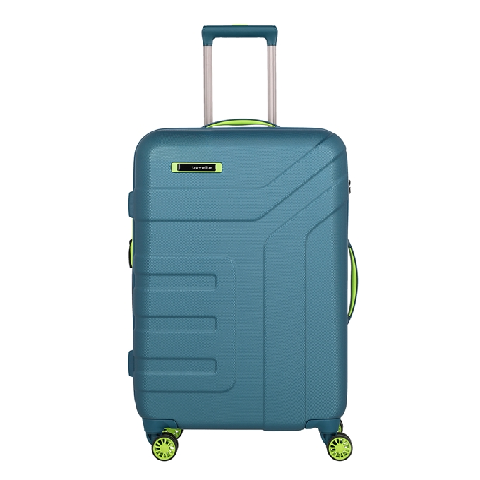 Travelite Vector 4 Wiel Trolley M Expandable petrol/lime