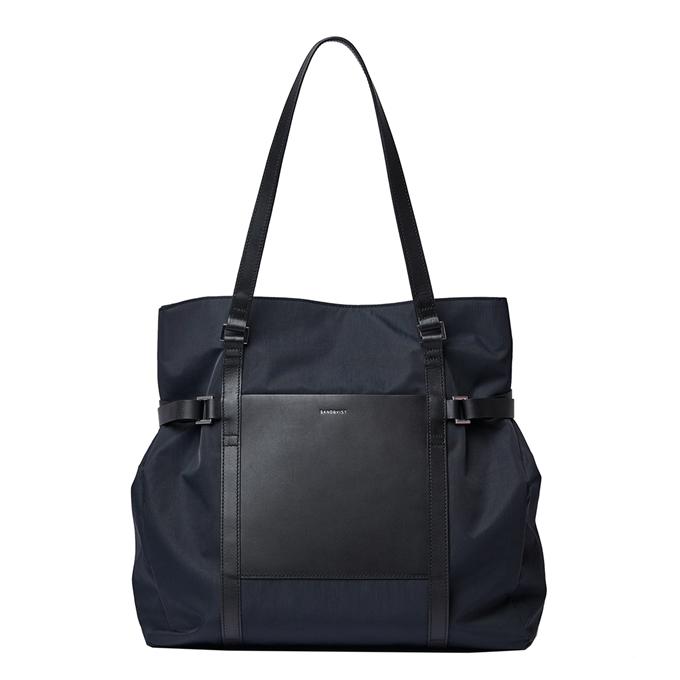 Sandqvist Thea Tote Bag black with black leather - 1