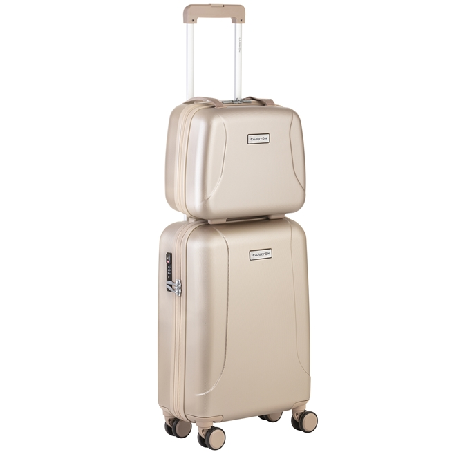 CarryOn Skyhopper 4 Wiel Trolley 55 + Beautycase Set champagne - 1