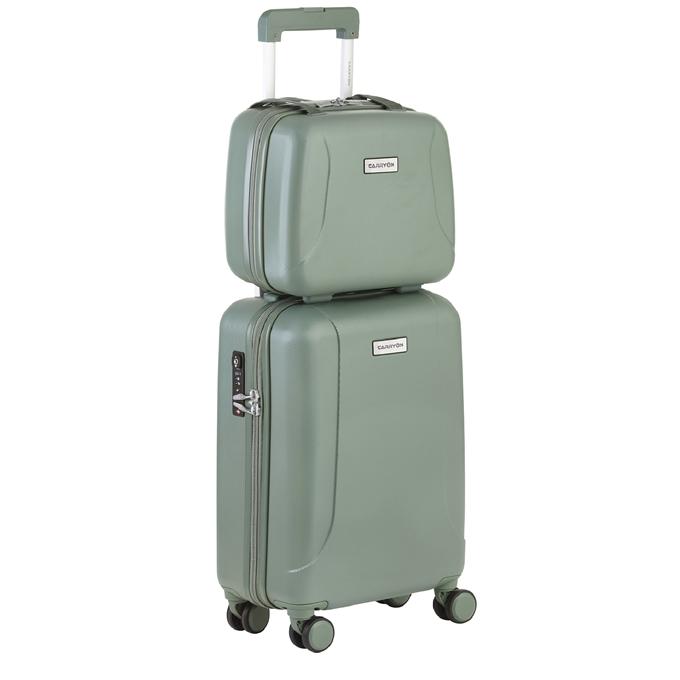 CarryOn Skyhopper 4 Wiel Trolley 55 + Beautycase Set olive