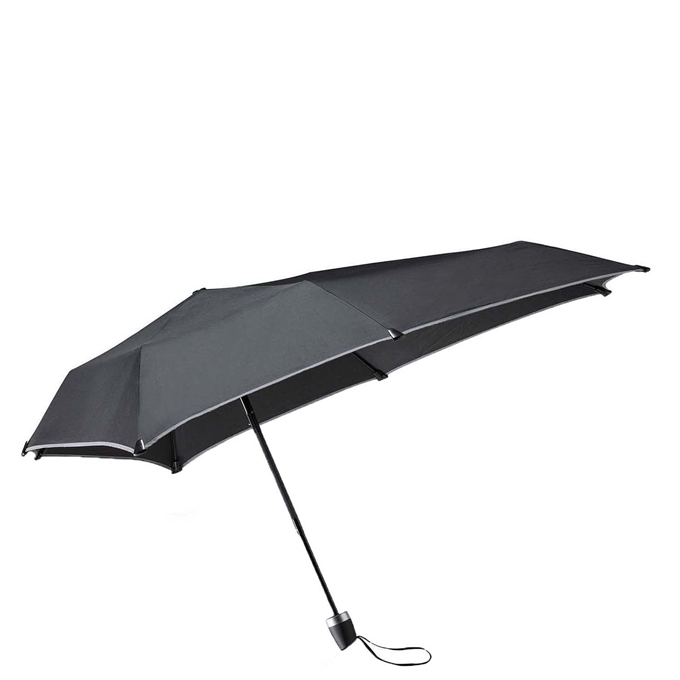 Senz Manual Opvouwbare Stormparaplu black reflective