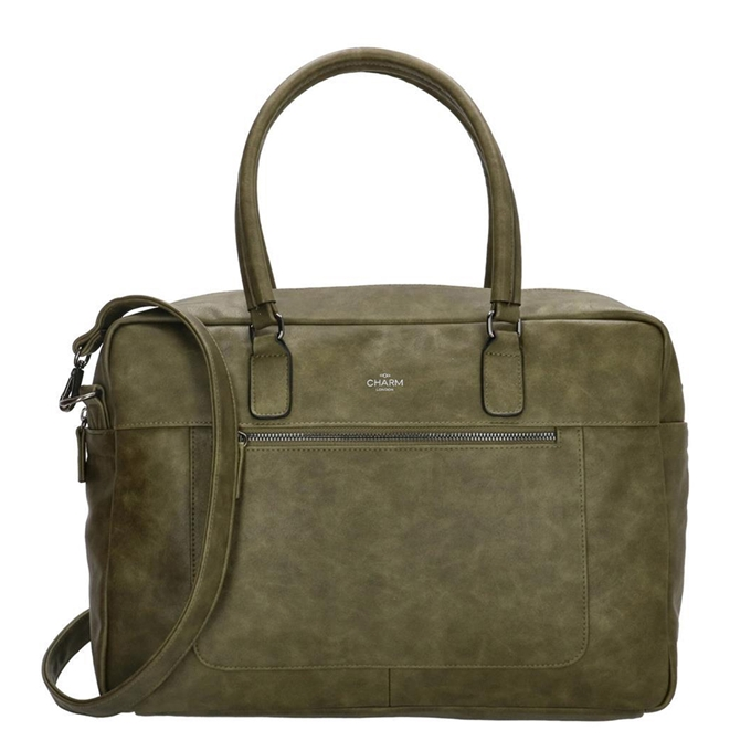 Charm London Farringdon Laptoptas olijf
