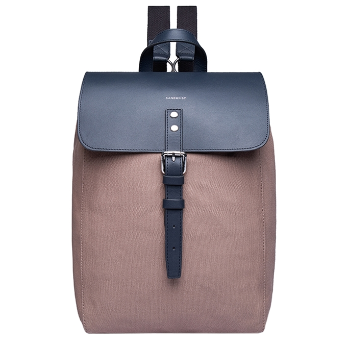 Sandqvist Alva Backpack S earth brown with navy leather - 1