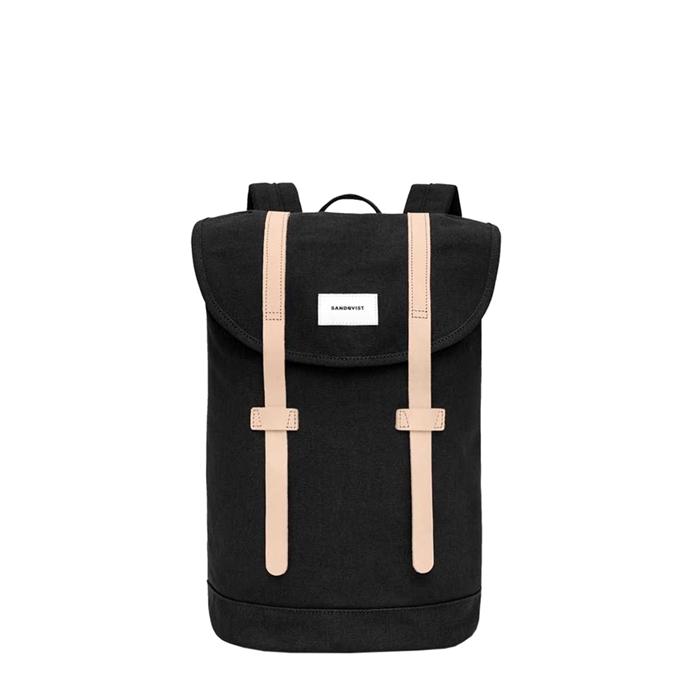 Sandqvist Stig Backpack black with natural leather - 1