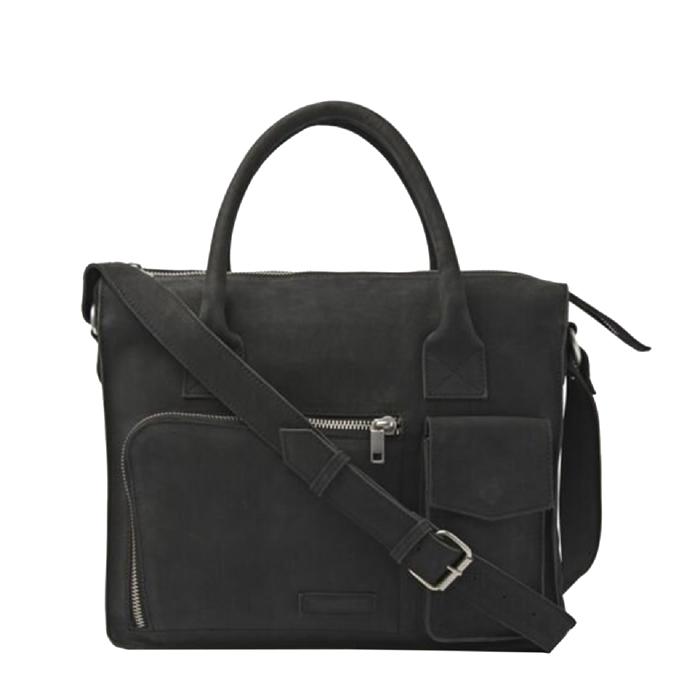 Fred de la Bretoniere Working Bag Waxed Grain Leather black