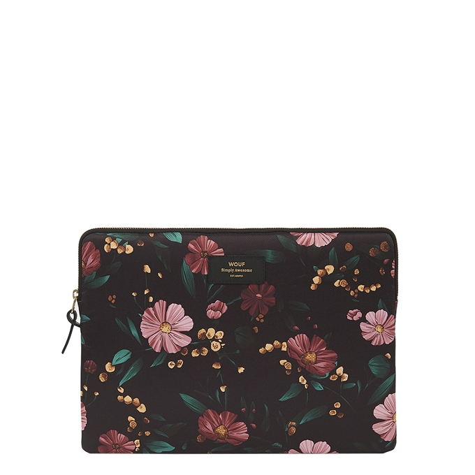 "Wouf Black Flowers Laptophoes 13"" black"