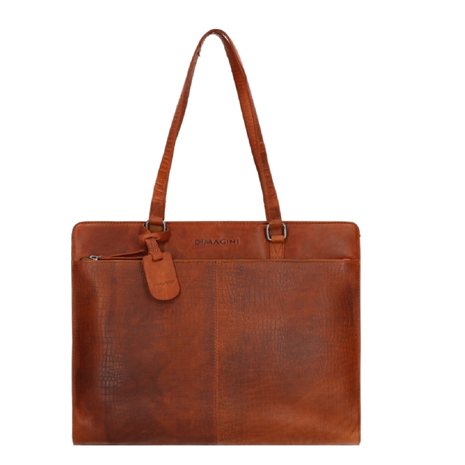 """Dimagini Classics 15,6"""" Croco Businessbag cognac - 1"""