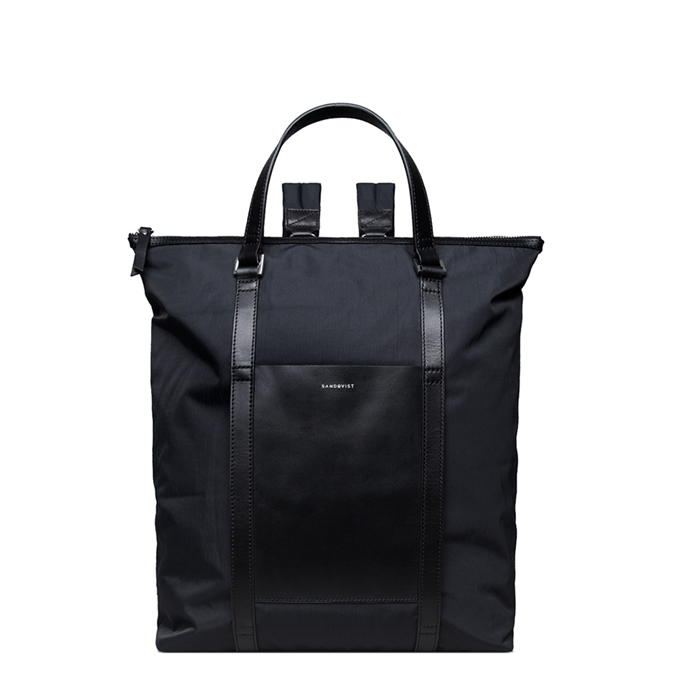 Sandqvist Marta Backpack black with black leather - 1