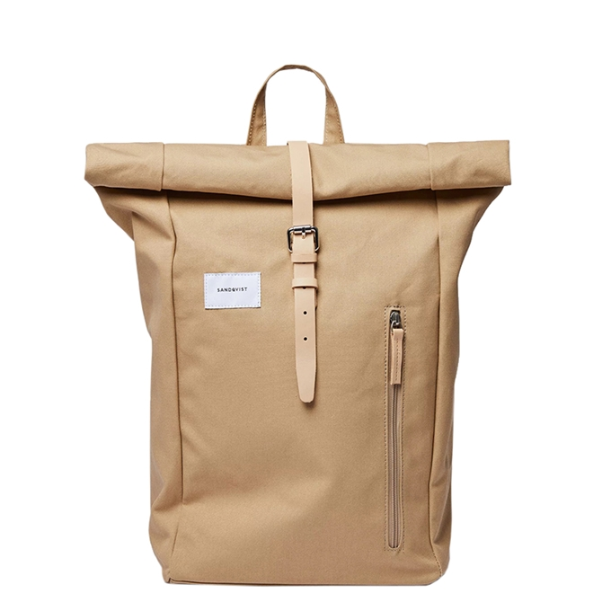 Sandqvist Dante Backpack beige with natural leather - 1