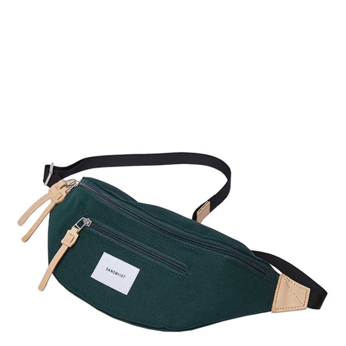 Sandqvist Aste Bum Bag dark green with natural leather