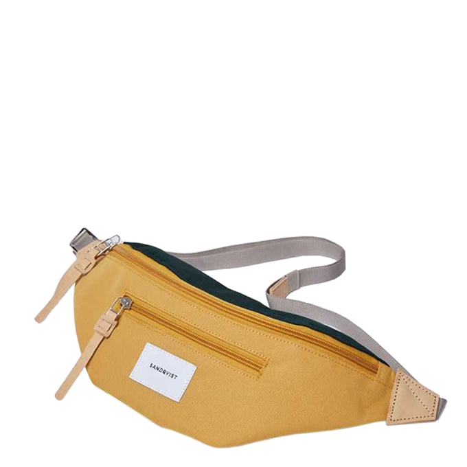 Sandqvist Aste Bum Bag multi honey yellow / dark green with natural leather