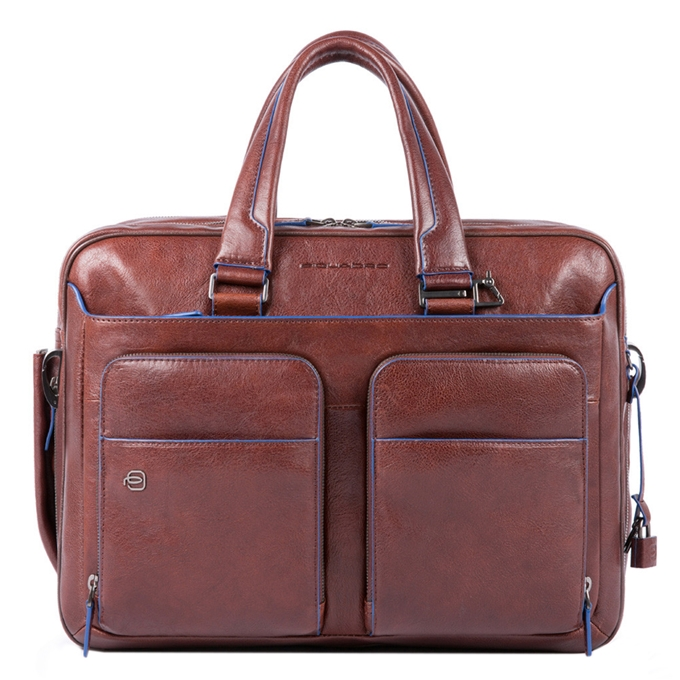 "Piquadro Blue Square Expandable Computer Briefcase with iPad 10.5"" dark brown"