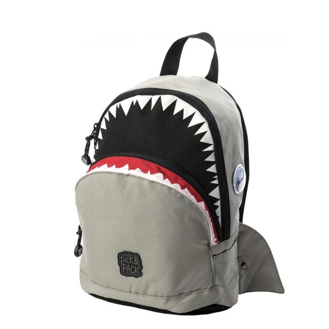 Pick & Pack Cute Shark Shape Backpack grey