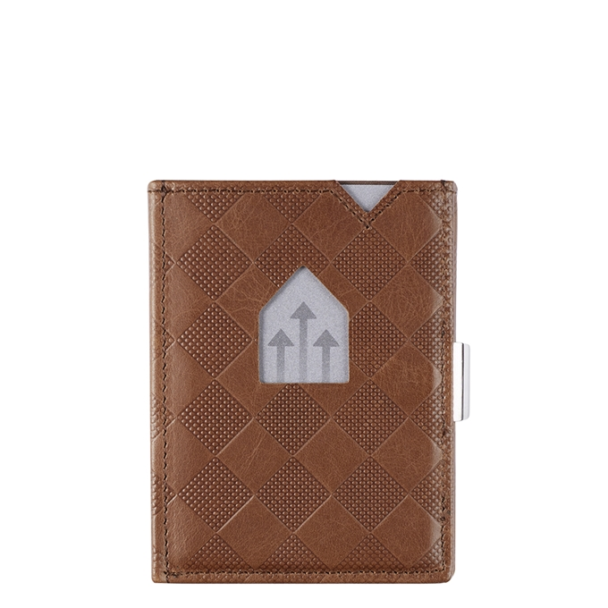 Exentri Leather Wallet RFID hazelnut chess