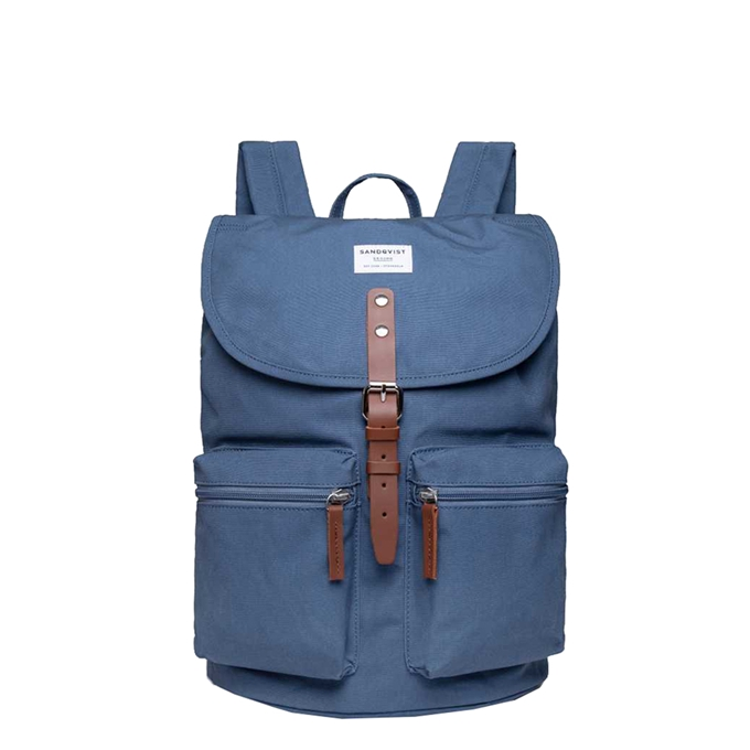 Sandqvist Roald Backpack dusty blue with cognac brown leather - 1