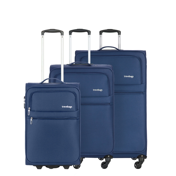 Travelbags Lissabon Kofferset - 3 delig - 55 cm 2 wiel + 67 cm 4 wiel + 77 cm 4 wiel - dark navy