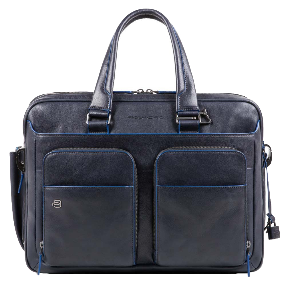 Piquadro Blue Square Expandable Computer Briefcase with iPad 10.5