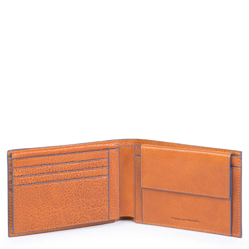 Piquadro Blue Square Mens Wallet with flip up ID Window Coin Pocket tabacco Heren portemonnee
