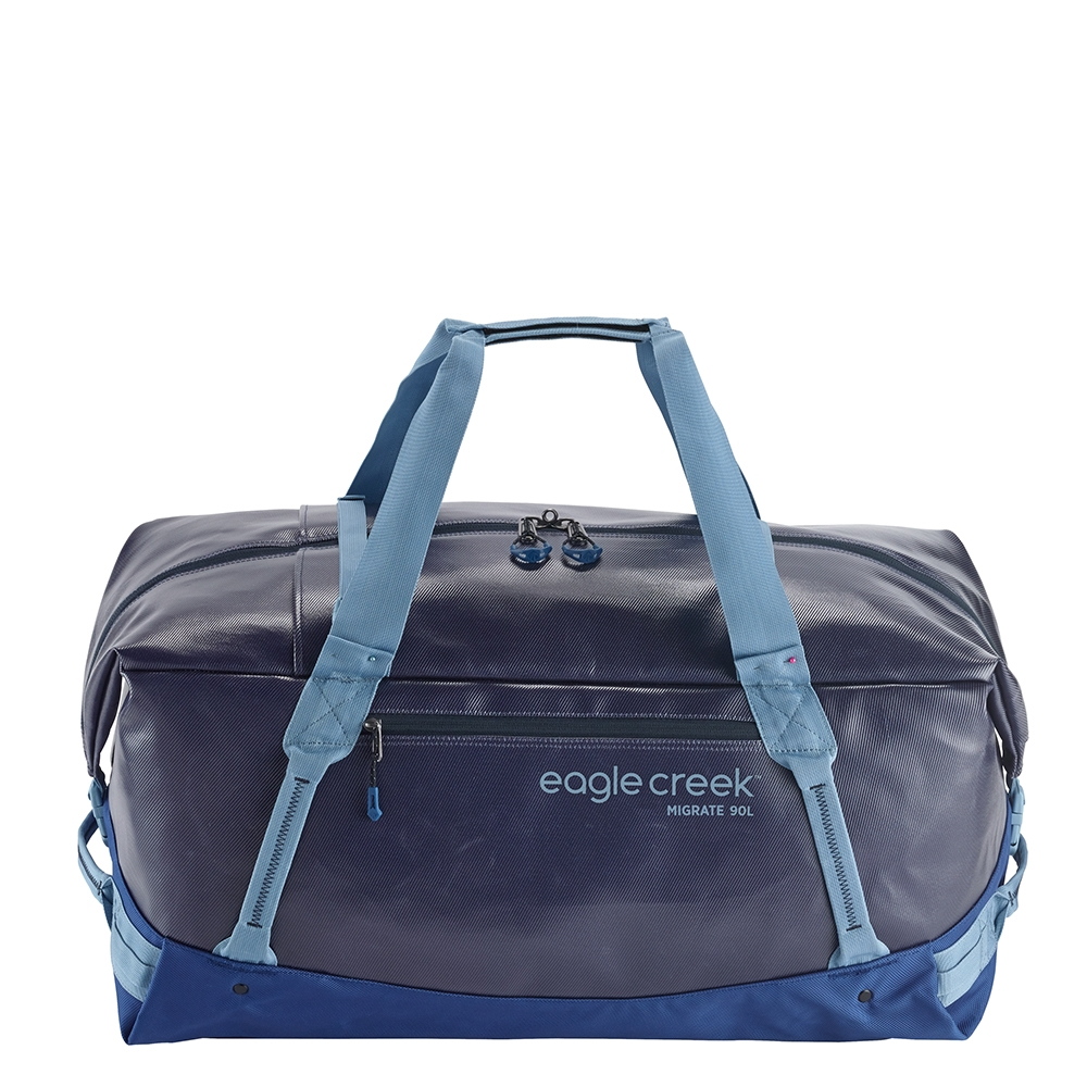 Eagle Creek Migrate Duffel 90L artic blue Weekendtas <br/>€ 93.50 <br/> <a href='https://tc.tradetracker.net/?c=15082&m=779702&a=107398&u=http%3A%2F%2Fwww.travelbags.nl%3A80%2Feagle-creek-migrate-duffel-90l-artic-blue.html' target='_blank'>Bestellen</a>