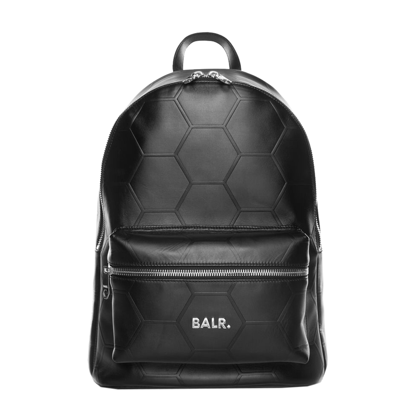 Balr. Hexagon AOP Embossed Leather Backpack black <br/></noscript><img class=