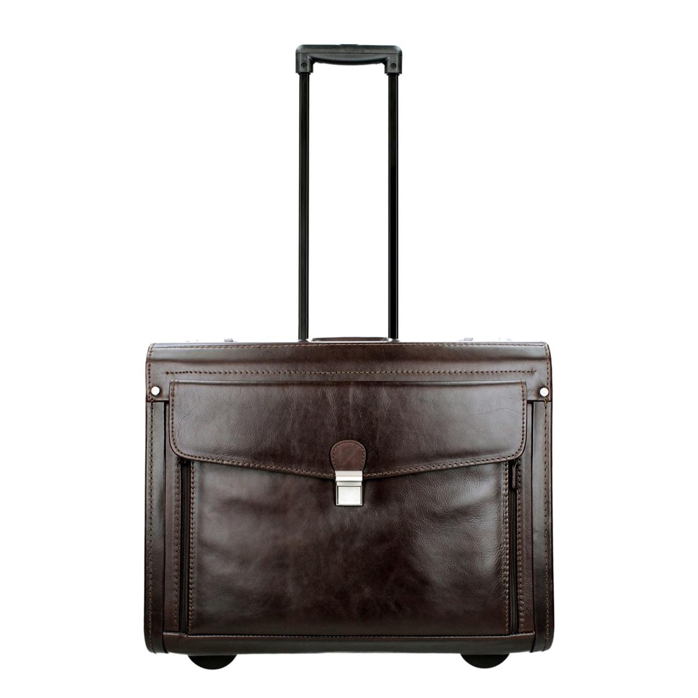 Dermata Business Leather Pilottrolley bruin Handbagage koffer <br/></noscript><img class=