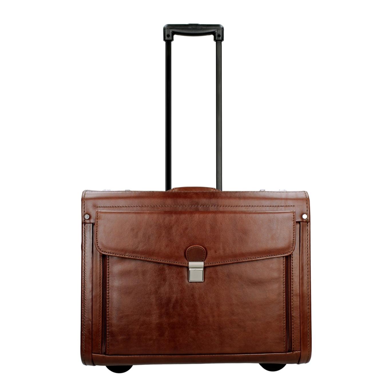 Dermata Business Leather Pilottrolley cognac Handbagage koffer <br/></noscript><img class=