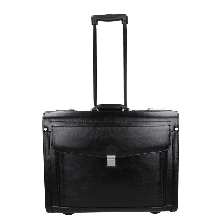 Dermata Business Leather Pilottrolley zwart1 Handbagage koffer <br/></noscript><img class=