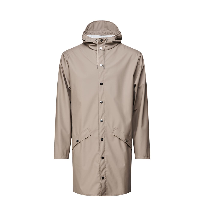 Rains regenjas model 1202 Long Hooded Jacket taupe online kopen
