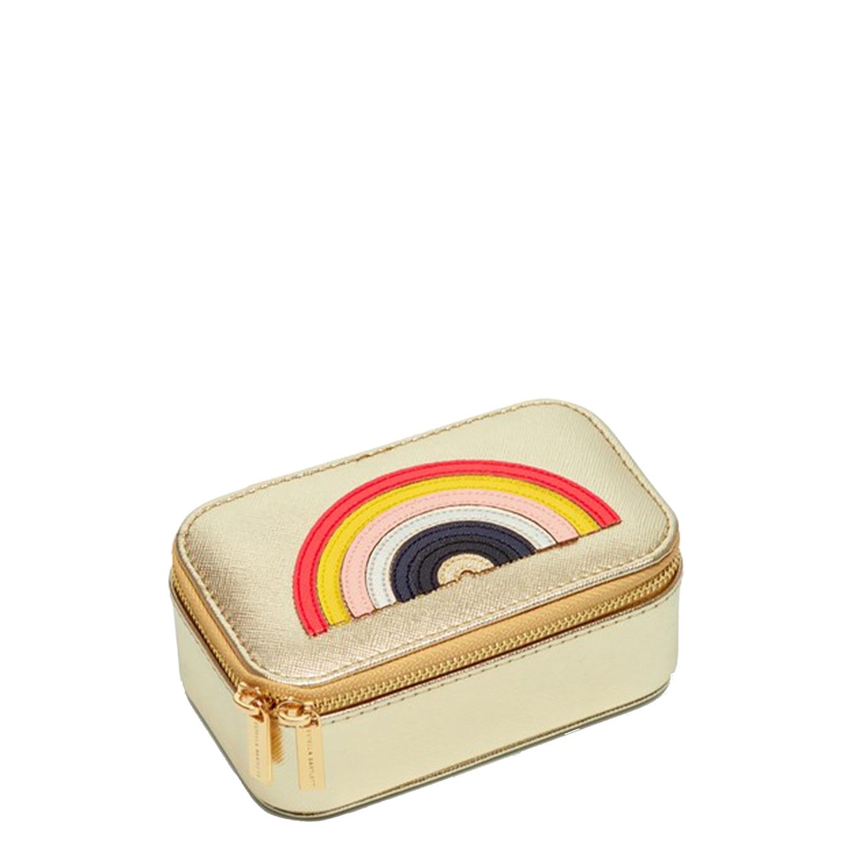 Estella Bartlett Mini Jewellery Box Multicolour Rainbow Applique gold saffiano