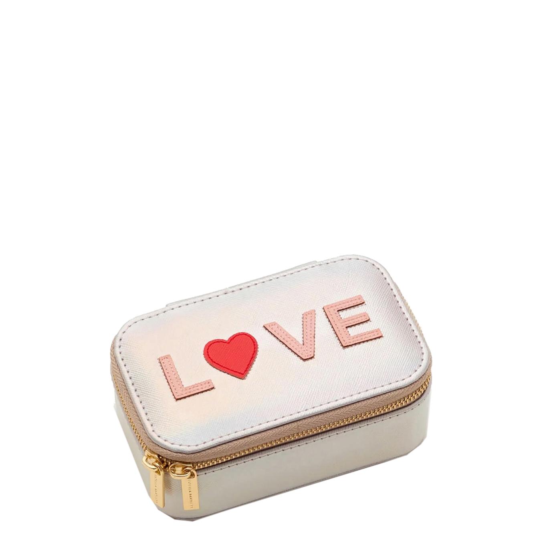 Estella Bartlett Mini Jewellery Box Blush and Coral Applique iridescent saffiano