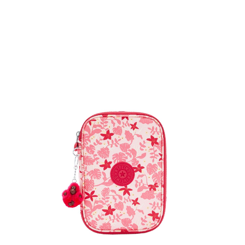 Kipling 100 Pens Etui pink leaves School etui