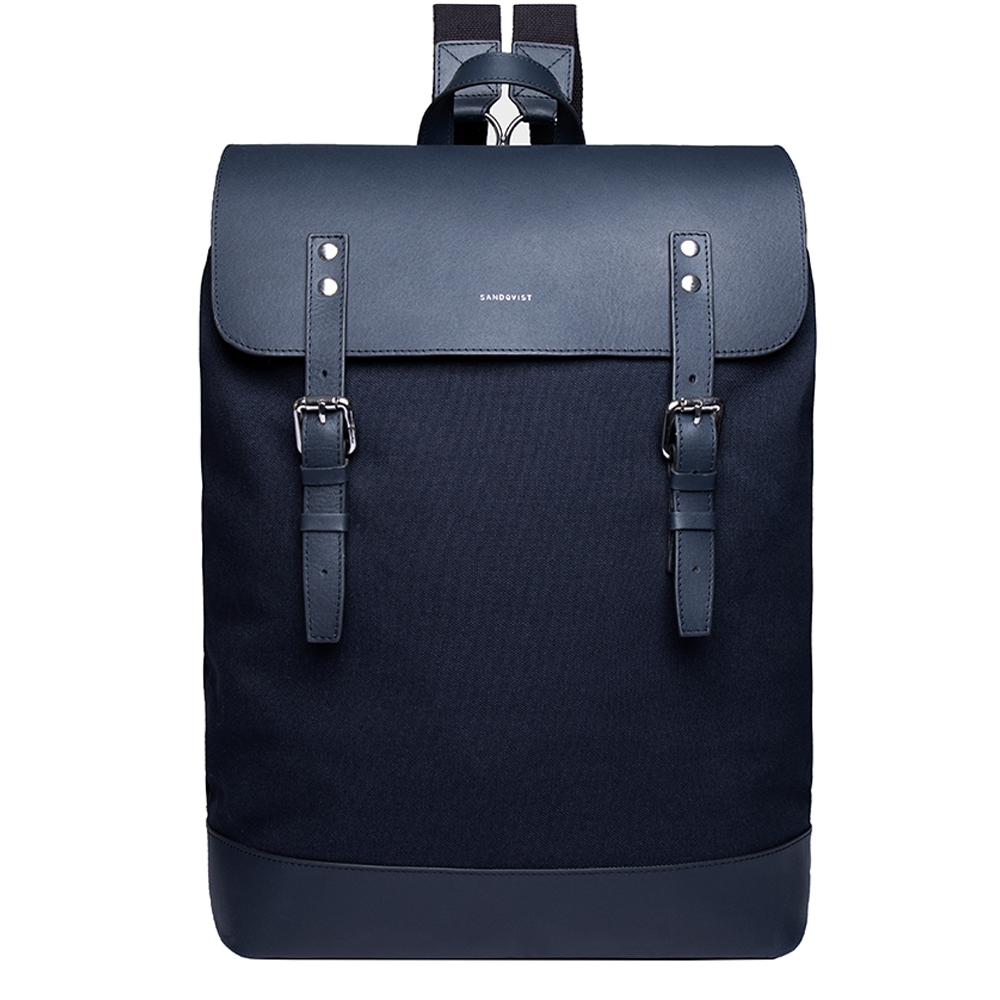 Sandqvist Hege Backpack navy with navy leather