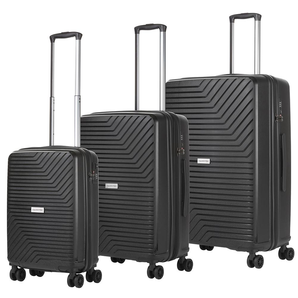 CarryOn Transport Kofferset -Trolleyset met OKOBAN YKK USB Zwart