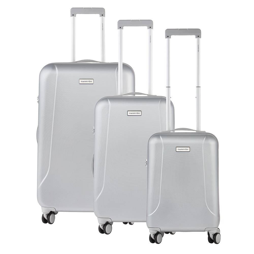 CarryOn Skyhopper Trolleyset 3pcs TSA silver Harde Koffer