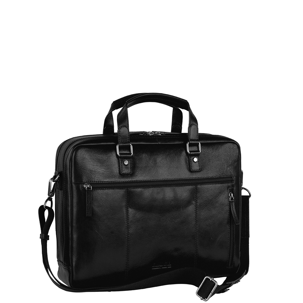 Leonhard Heyden Roma Zipped Briefcase 2 Compartments black