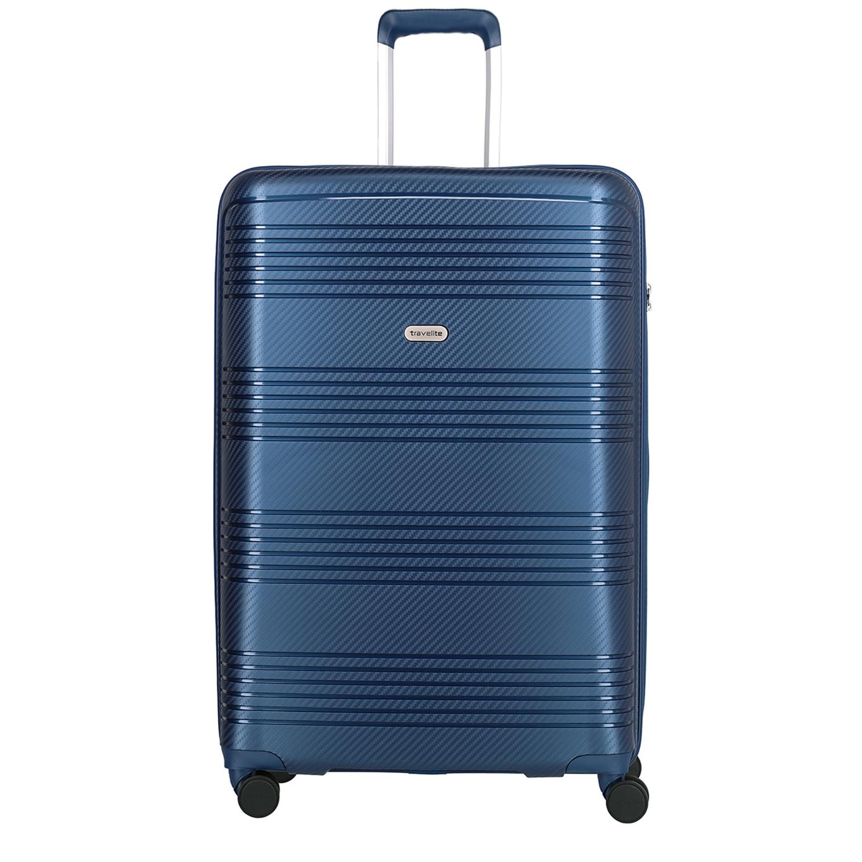 Travelite Zenit 4 Wiel Trolley L blue Harde Koffer <br/></noscript><img class=